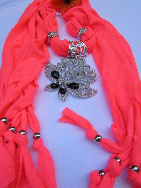 Black Blue Purple Pink Brown Dark Gray Red Bright Coral Green Soft Fabric Scarf Necklace Silver Flowers Butterfly Pendant New Fashion Accessory - alwaystyle4you - 76