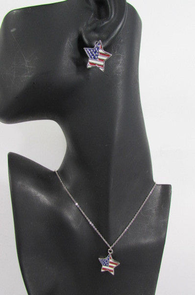 USA American Flag Star/Square/Heart Silver Metal Necklace + Matching Earring Set New Women - alwaystyle4you - 8