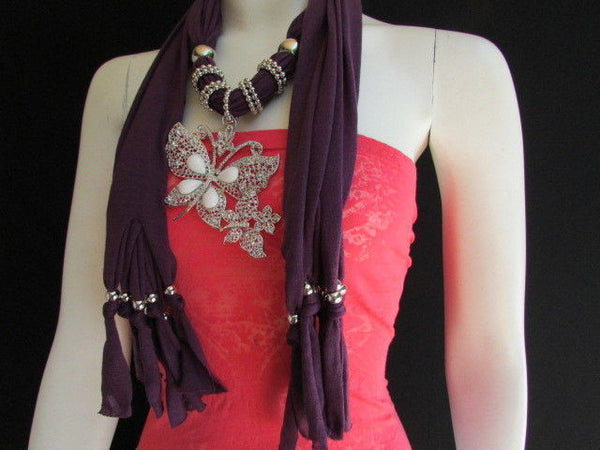 Dark Gray Blue Orange Red Brown Purple Pink Green Soft Fabric Scarf Long Necklace Huge Butterfly Pendant New Women Fashion - alwaystyle4you - 77