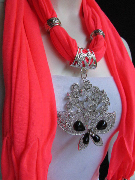 Black Blue Purple Pink Brown Dark Gray Red Bright Coral Green Soft Fabric Scarf Necklace Silver Flowers Butterfly Pendant New Fashion Accessory - alwaystyle4you - 77