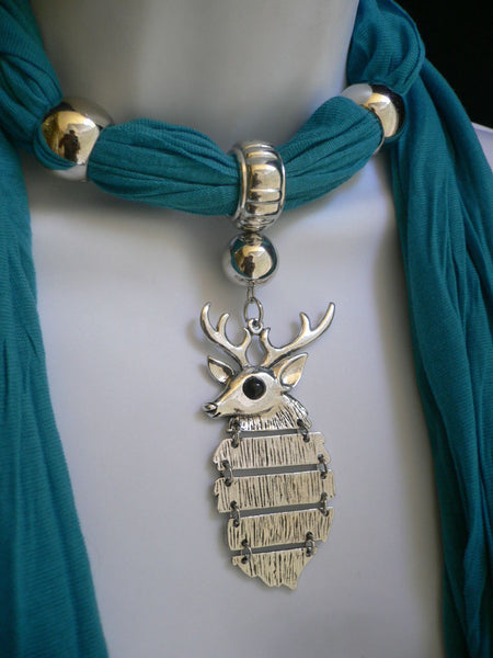 Green  / Red / White / Blue / Beige / Pink / Mustard Long Soft Scarf Necklace Silver Metal Deer Head Pendant For Christmas New Women Fashion - alwaystyle4you - 31