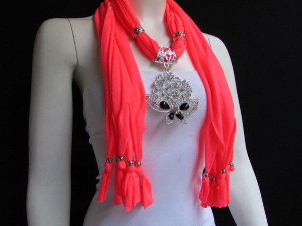 Black Blue Purple Pink Brown Dark Gray Red Bright Coral Green Soft Fabric Scarf Necklace Silver Flowers Butterfly Pendant New Fashion Accessory - alwaystyle4you - 78