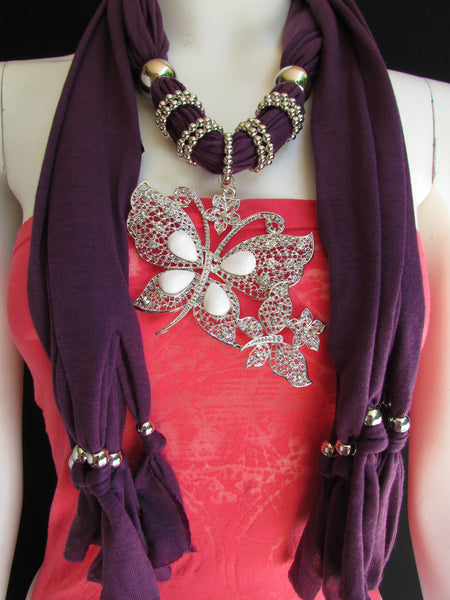 Dark Gray Blue Orange Red Brown Purple Pink Green Soft Fabric Scarf Long Necklace Huge Butterfly Pendant New Women Fashion - alwaystyle4you - 79