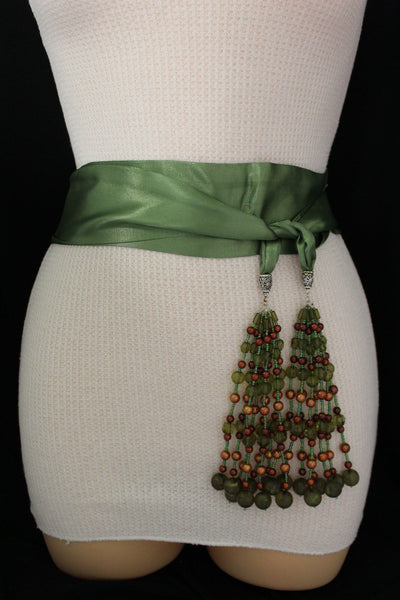 Cream - Off White / Light Purple / Green Long Tie Fringe Beads Hip Waist Belt Scarf New Women Fashion Accessories - alwaystyle4you - 3