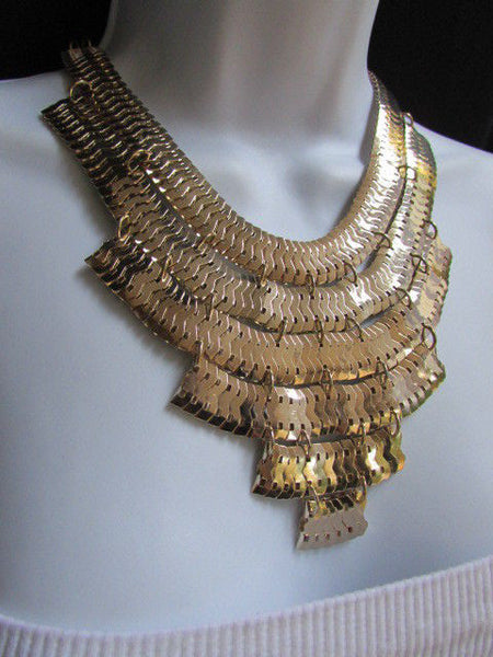 Wide 6 Strands Gold Links Chains Metal Statement Necklace + Matching Earrings Set New Women - alwaystyle4you - 8