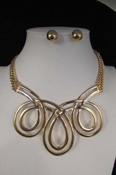 Gold / Silver Twisted 3 Drops Chain Necklace + Earring Set New Women Chunky Fashion - alwaystyle4you - 8