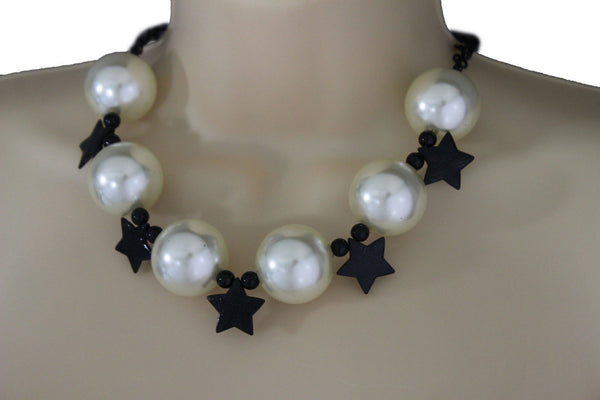 Black / Silver / Gold / Red / White Metal Stars Ball Beads Short Ivory Necklace + Earring Set New Women Fashion Jewelry - alwaystyle4you - 12