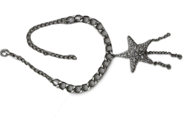 Gold Silver Metal Chain Big Falling Star Anklet Shoe Charm New Women Western Boot Bracelet - alwaystyle4you - 8