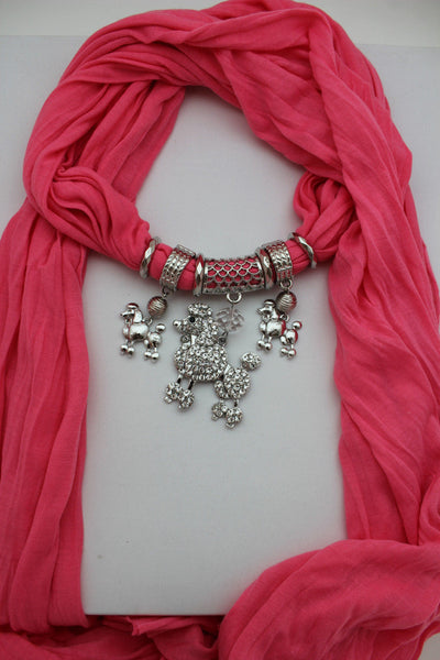 Blue, Black, L. Pink, Pink Fuscia Soft Fabric Scarf Silver Metal Poodle Dog Pendant New Women Fashion - alwaystyle4you - 18