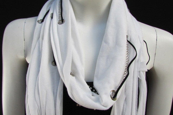 New Women Fashion Soft White Fabric Scarf Mini Faux Fur Balls Black Chains - alwaystyle4you - 3