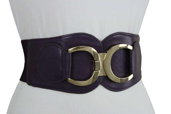 Purple Women Belt Elastic Corset Hip High Waist Gold Metal Buckle Plus L XL XXL
