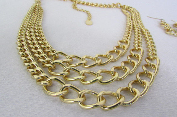 Gold Three Thick Chains Links Strands Necklace + Earrings Set New Women Trendy Fashion - alwaystyle4you - 13