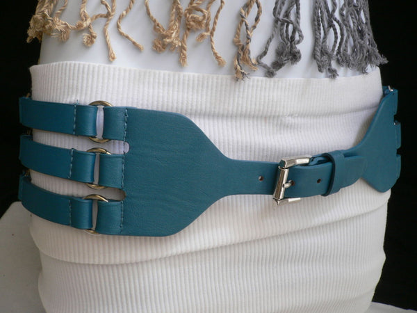 Aqua Blue Taupe Light Brown Black Red Faux Leather Elastic Hip Waist Belt Silver Buckle And Rings Rib Cage Women Fashion Accessories S M - alwaystyle4you - 1