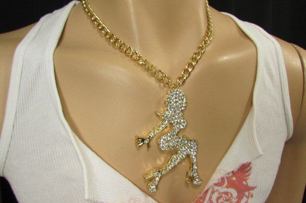 Gold Metal Chains Fashion Necklace Big Silver Rhinestone Sexy woman Shape Pendant New Men Fashion - alwaystyle4you - 9