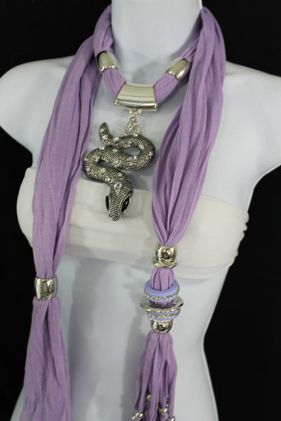 Women Lavender Fashion Scarf Fabric Silver Metal Snake Pendant Necklace Lilac - alwaystyle4you - 8