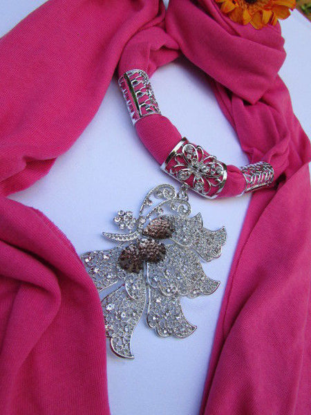 Pink Blue Black Brown Bright Coral Soft Fabric Scarf Long Necklace Big Silver Butterfly Pendant New Women Fashion - alwaystyle4you - 9