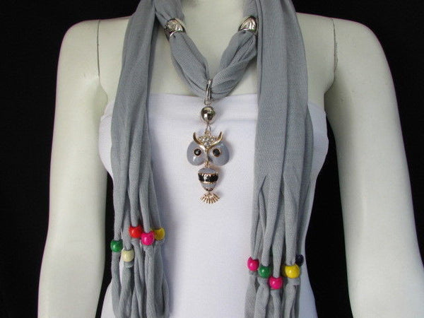 Black, Blue, Beige, Gray, White Soft Scarf Long Necklace Multicolors Wood Beads Owl Pendant New Women Fashion Accessory - alwaystyle4you - 8