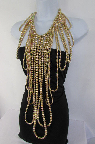 "Gold Multi Ball Beads 30"" Extra Long Unique Statement Necklace + Earrings Set  New Women Fashion - alwaystyle4you - 13"