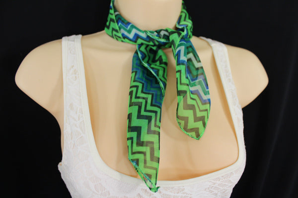 Bright Green Neck Scarf Fabric Black Chevron Print Pocket Square New Women Accessories Fashion - alwaystyle4you - 5