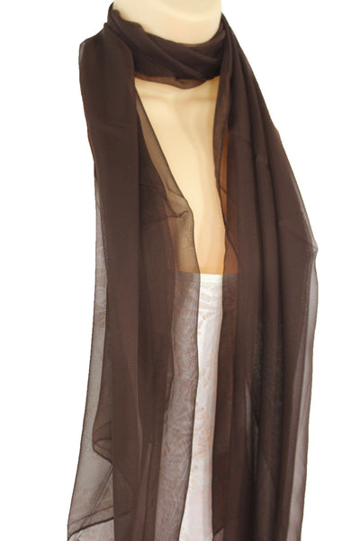 Dark Brown Dark Green Dark Blue Brown Neck Scarf Long Soft Sheer Fabric Classic Women Accessories
