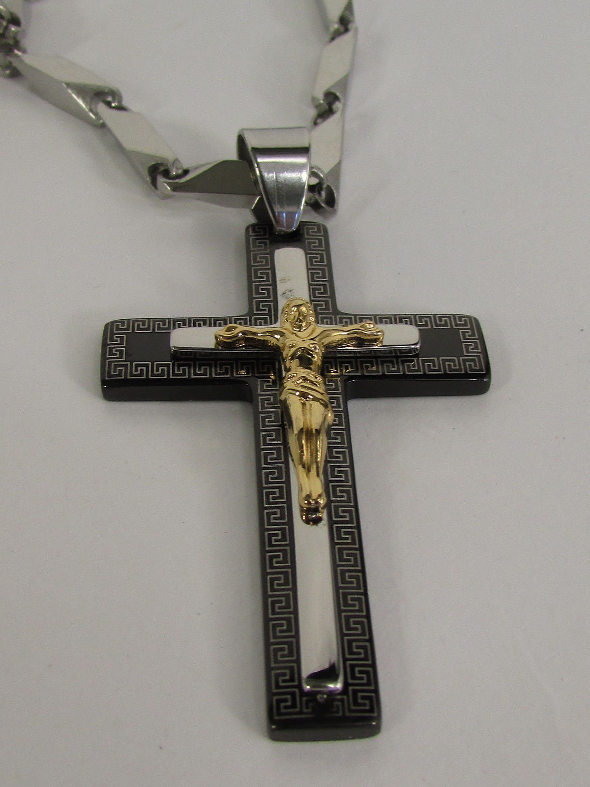 Black Silver Gold Metal Chain Necklace Cross Silver Stainless