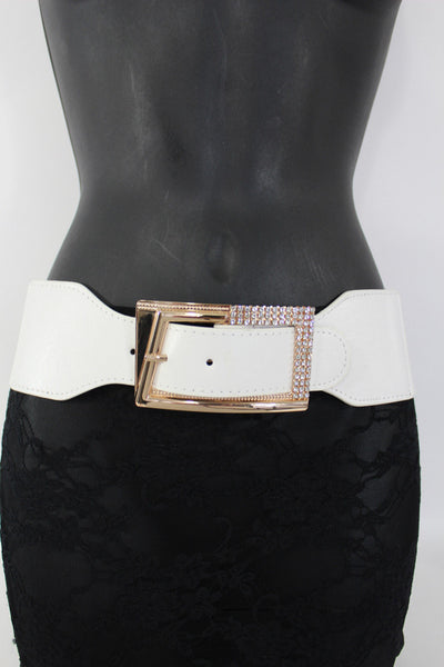 Black / Red / White / Brown Faux Leather Tie Hip Waist Belt Square Gold Rhinestones Buckle New Women Fashion Accessories M L - alwaystyle4you - 18