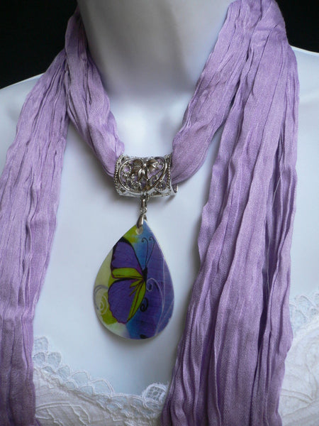 Lavander Scarf Necklace Big Seashell Pendant Purple Butterfly New Women Fashion - alwaystyle4you - 8
