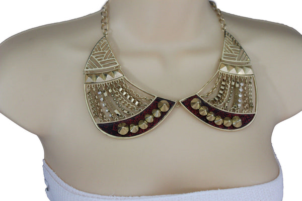 Bronze / Gold Short Bib Metal Chains Collar Spikes Necklace + Earrings Set New Women Fashion Jewelry - alwaystyle4you - 9