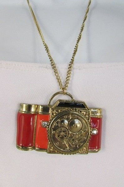 Old Fashion Collector Camera Red Orange Long Rusty Gold New Women Necklace - alwaystyle4you - 13