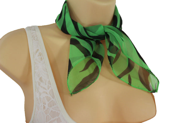 Green Neck Scarf Fabric Black Zebra Animal Print Pocket Square New Women Fashion - alwaystyle4you - 8