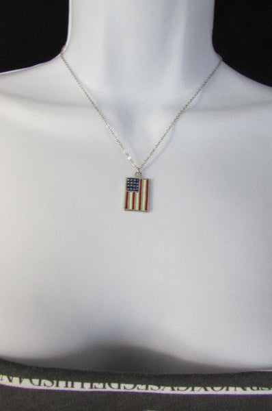 USA American Flag Star/Square/Heart Silver Metal Necklace + Matching Earring Set New Women - alwaystyle4you - 33