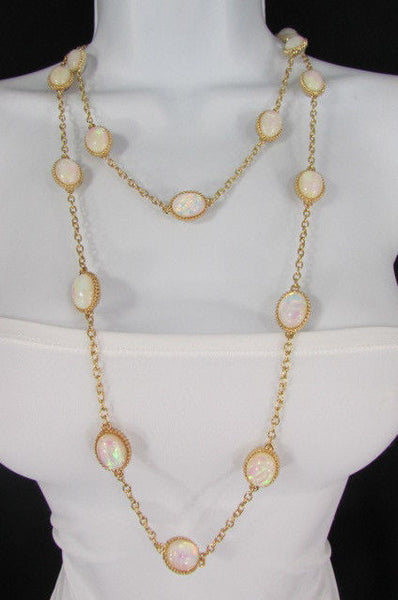 "Extra Long Gold Chains Shiny Cream Beads Fashion Necklace + Earrings Set New Women 26"" - alwaystyle4you - 12"