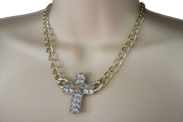Short Gold / Silver Metal Chains Cross Pendant Necklace + Earring Set New Women Fashion Jewelry - alwaystyle4you - 9