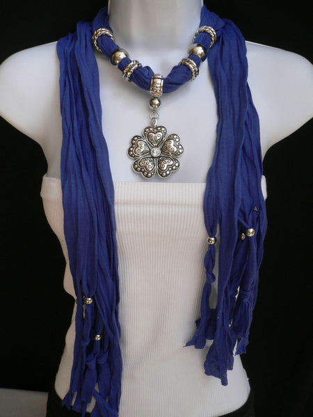 Blue Light Blue Black Dark Brown Light Pink Coral White Soft Scarf Necklace Heart Flower Silver Pendant New Women Fashion 6 Different Colors - alwaystyle4you - 20