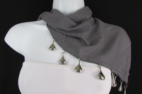 Solid New Women Scarf Fashion Necklace Gray Short Fabric Neck Multi Silver Drops Beads - alwaystyle4you - 8