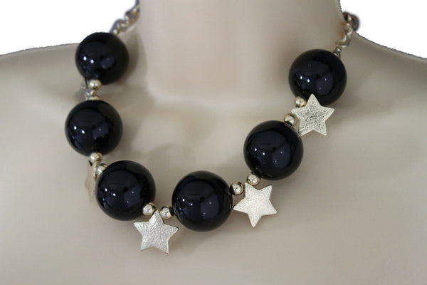 Black / Silver / Gold / Red / White Metal Stars Ball Beads Short Ivory Necklace + Earring Set New Women Fashion Jewelry - alwaystyle4you - 24