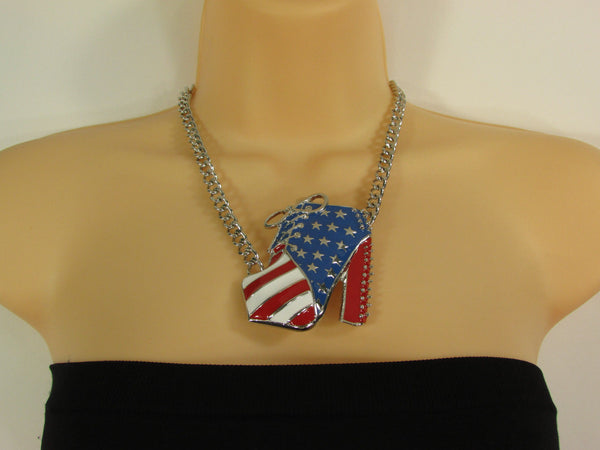 Large Metal High Heels Shoes Pendant Fashion Chains Gold / Silver Rhinestones American Flag USA Stars Necklace + Earrings Set - alwaystyle4you - 13