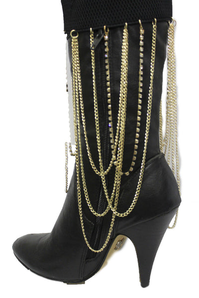 Gold Metal Boot Bracelet Chain Long Drop Bling Anklet Elastic Band New Women Western Hot Accessories - alwaystyle4you - 8