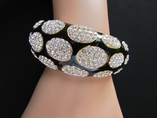 Gold Metal Wide Bracelet Black Animal Print Silver Rhinestone New Women Fashion Jewelry Accessories - alwaystyle4you - 10
