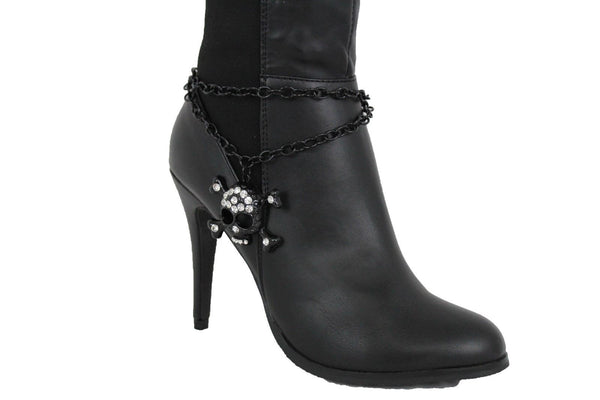 Women Black Boot Chain Bracelet Strap Skeleton Skull Shoe Charm Bling Western Style