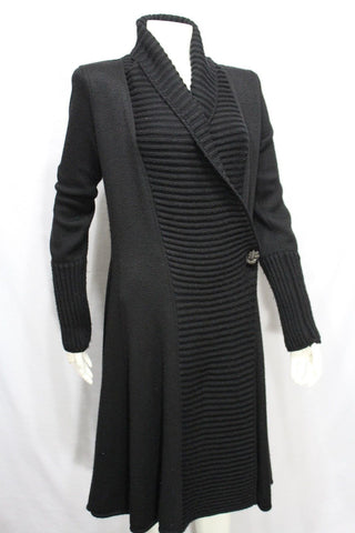 Black Wool Cashmere Sweater Long Coat Knit Jacket Giorgio Armani Women Fashion Size Medium 44