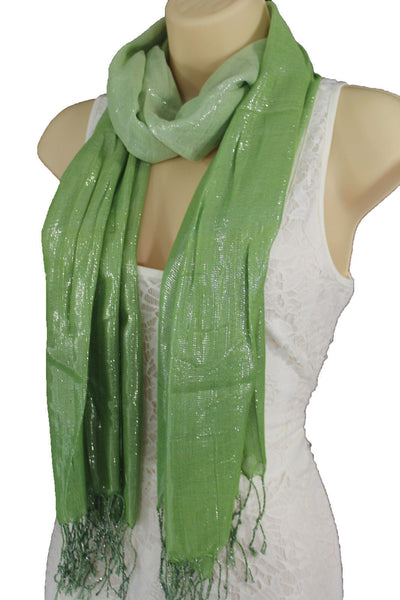 Green Neck Scarf Long Soft Fabric Tie Wrap Classic Bright Shiny New Women Jewelry Accessories - alwaystyle4you - 8