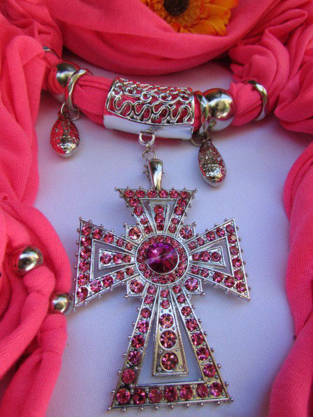 New Women Soft Fabric Dark Brown / Pink Scarf Necklace Western Rhinestones Cross Pendant - alwaystyle4you - 8