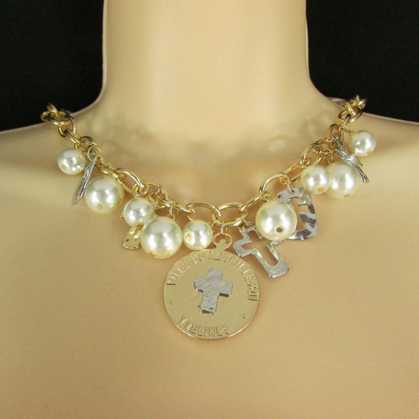 Gold Metal Chains Necklace Coin Cross Charms Imitation Pearls beads New Women Fashion - alwaystyle4you - 14