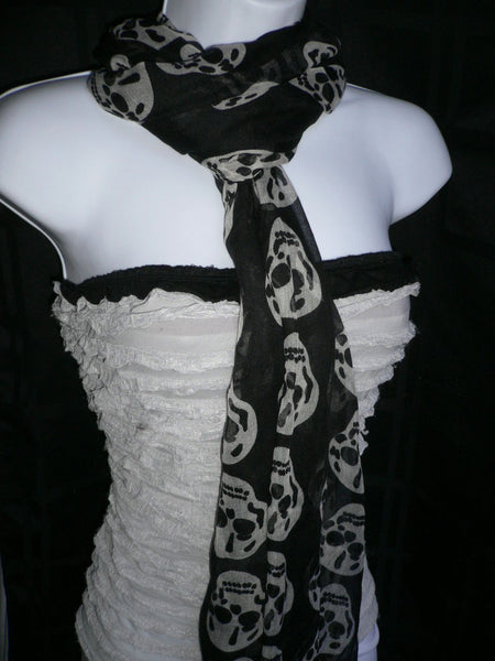 New Women Black Scarf Gray Beautiful Skulls Skeleton Drawing Soft 100% Polyester - alwaystyle4you - 8