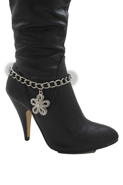 Silver Boot Chain Bracelet Link Big Flower Anklet Shoe Bling Charm New Women Western Fashion Accessories - alwaystyle4you - 8