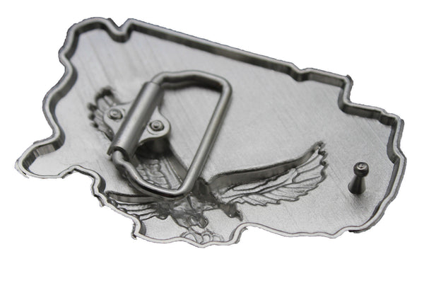 Men Western Fashion Belt Buckle Silver Metal USA Flag American Pride Eagle State - alwaystyle4you - 9