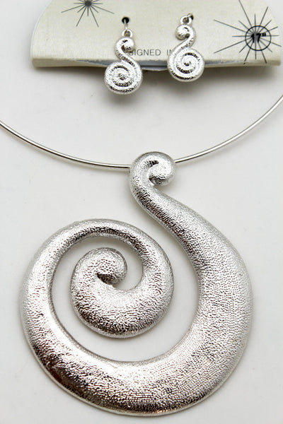Silver / Pewter Black Choker Thin Metal Snail Spin Swirl Charm Necklace + Earrings Set New Women Fashion Jewelry - alwaystyle4you - 8