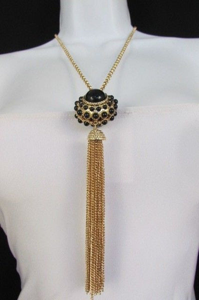 "Gold Metal Long Chains Big Ball Black Dots Fringe Fashion Necklace + Earrings Set New Women 26"" - alwaystyle4you - 7"