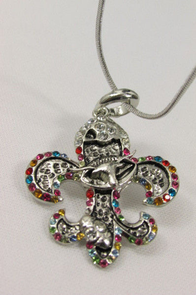 Silver Metal Fleur De Lis Lily Flower Bull Colorfull Rhinestones/ Silver Necklace New Women Fashion - alwaystyle4you - 8
